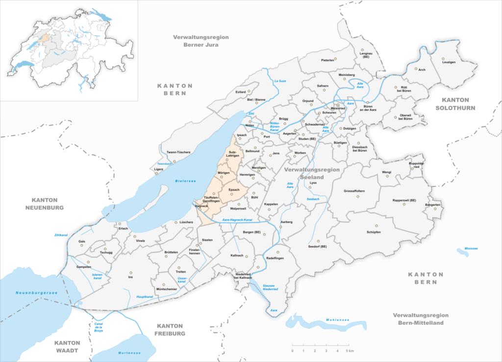 Karte Einzugsgebiet OSZ Täuffelen
