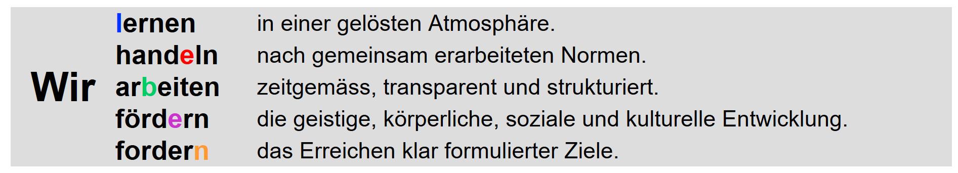 Das Leitbild des OSZ Täuffelen